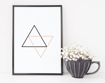 1010 // Pink and Black Triangles Geometric Design Digital Download JPEG and PDF