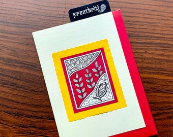 Madhubani/ Mithila Inspired Landscape Handmade Folk Art Greeting Card; Original Hand painted note card for all occasions