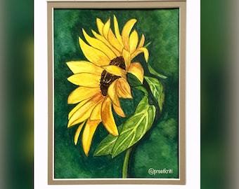 Sunflower Watercolour Original painting, Vibrant Botanical Small Wall Art