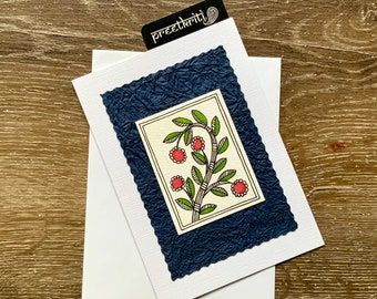 Madhubani/ Mithila Inspired Handmade Folk Art Greeting Card; Original Hand painted note card for all occasions