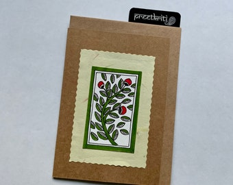Madhubani/ Mithila Style Inspired Handmade Folk Art Greeting Card; Original Hand painted note card for all occasions