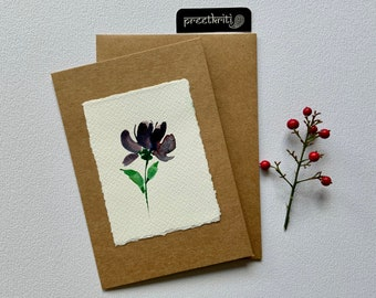 Floral Watercolour Hand Painted  Kraft Greeting Card; Original Handmade Blue Flower Note Card for all occasions
