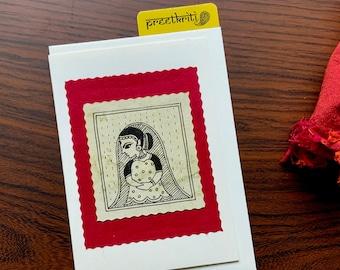 Original Hand painted Folk Art Madhubani / Mithila Lady Note Card, Framable Small Art