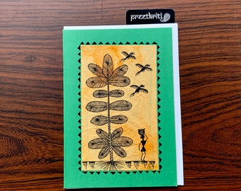 Hand painted Warli notecard, Original handmade tribal folk art blank card, framable  as wall art