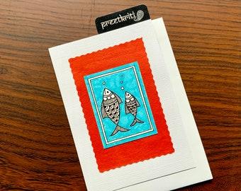 Mother & Baby Fish Madhubani/ Mithila Note card, Hand painted folk art, Framable