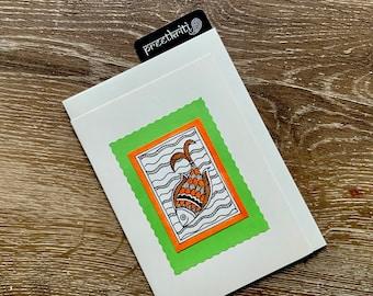 Fish Folk Art ( Madhubani / Mithila Art) greeting card, Original handmade note card
