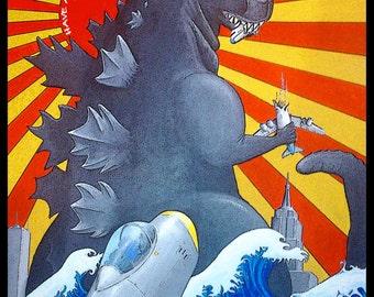 Have a monster birthday card, Godzilla birthday card, Monster card, birthday card from original art