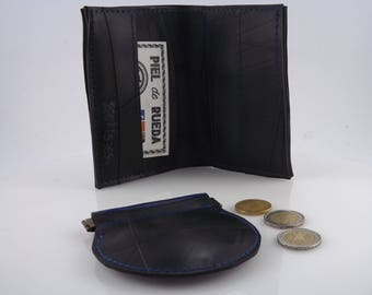PIEL DE RUEDA - Kit recycled tube wallet and purse for man