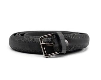 Up cycled black unisex tire belt, pneumatic belt, rubber belt, vegan belt, handmade black belt , belt for him, belt for boy, eco gift idea