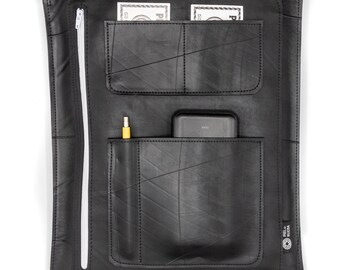 Document briefcase with adjustable strap, computer case, tablet holder handmade with recycled inner tube, vegan,