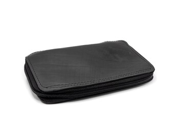 Up cycled vegan inner tube multipocket wallet with coin purse