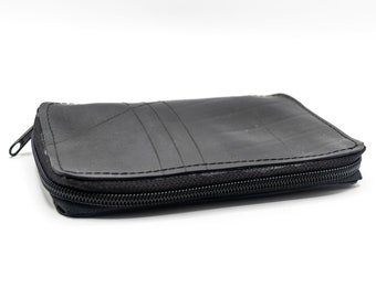 Multi compartment black tobacco holder handmade with upcycled inner tube, vegan tobacco case , waterproof pouch