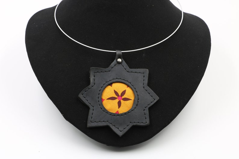 Necklace upcycled inner tube jewelry with flower pendant in fabric and inner tube