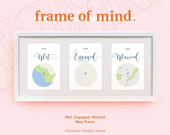 Personalised Met, Engaged, Married Map love story. Wedding | Anniversary | Engagement gift for couples