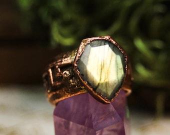 Electroformed labradorite shield ring