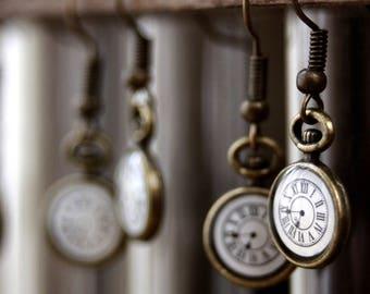 Steampunk pocket watch earrings