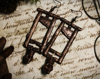 Guillotine earrings, copper macabre jewelry