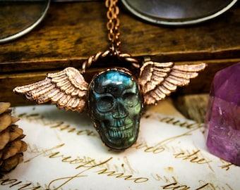Winged skull necklace, labradorite skull pendant
