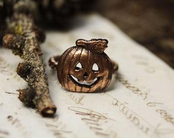 Copper pumpkin ring, halloween jewelry