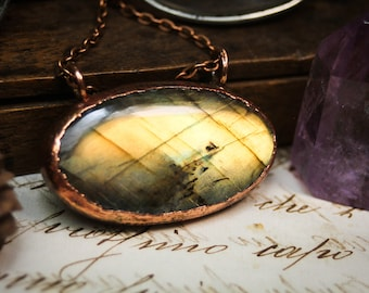 Reversible copper pendant, labradorite pentagram necklace