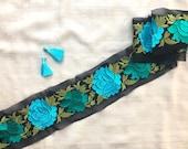 Black Floral Embroidered Trim,Indian Embroidery Border,Kashmir Embroidery Lace,Black Floral Border,Black Saree Border,Bridal Lace,Price mtr