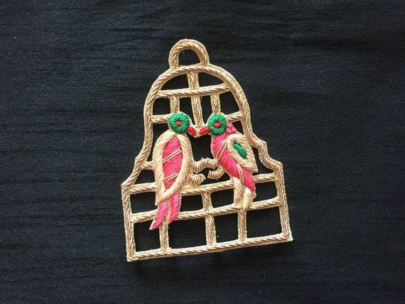 Uccello gabbia ricamo indiano applique fatta a mano zari etsy