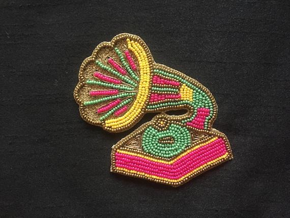 Retro Gramophone Beaded Embroidery Appliqueindian Handmade Etsy