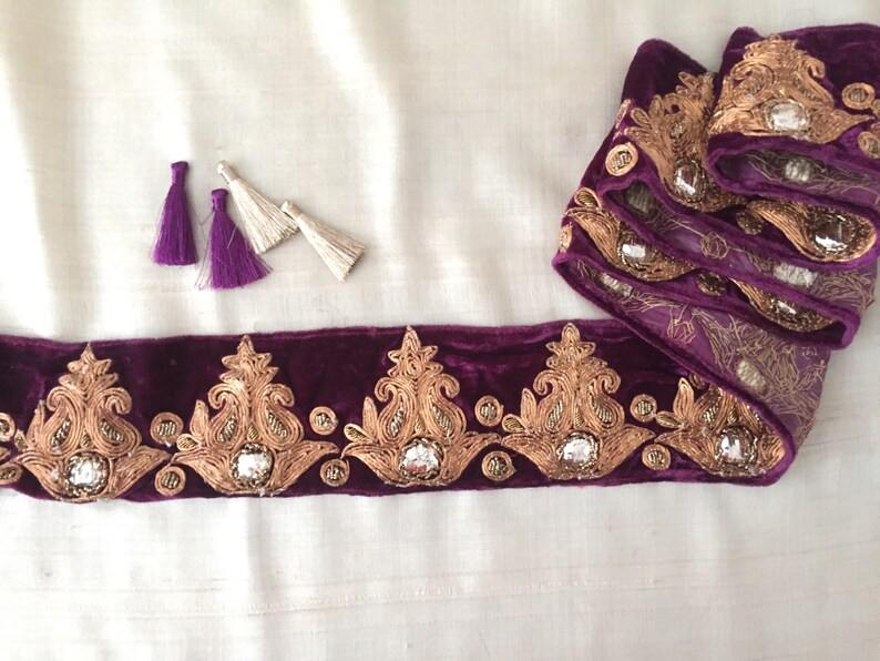 1 metre Beautiful gold and purple lace trim with beads mirrors and pearls 6cm
