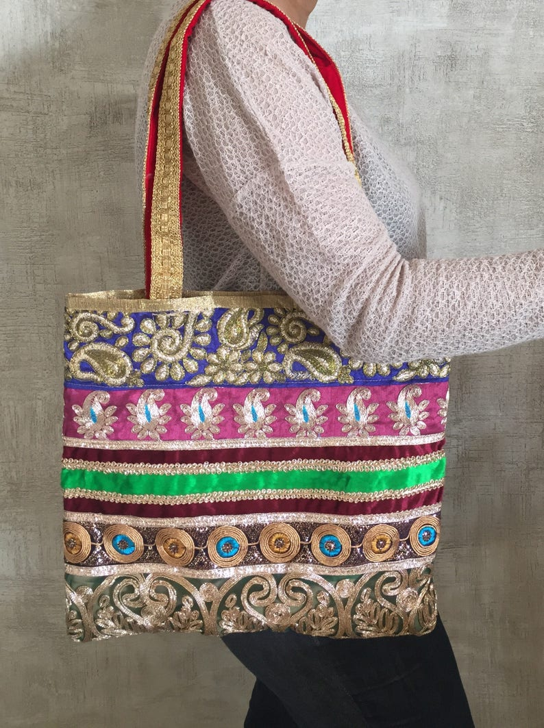 12826de53e84 Recycled Vintage Sari Tote BagHandmade Indian Embroidery Trim
