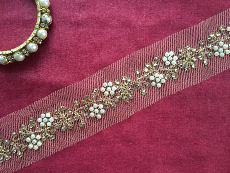 1 Meter Latest Indian Bridal Pearl Lace wedding Dress Sash tape lace trimming