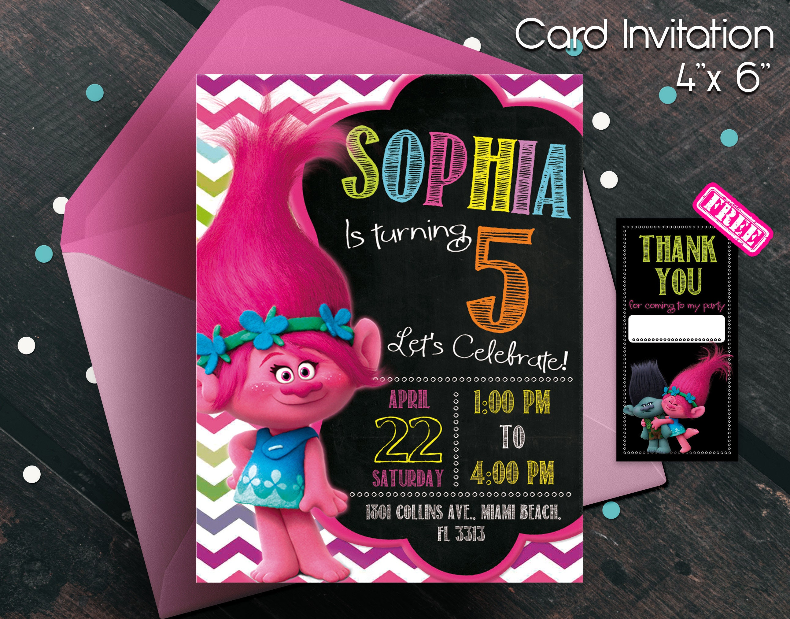 Trolls Birthday Invitation Digital