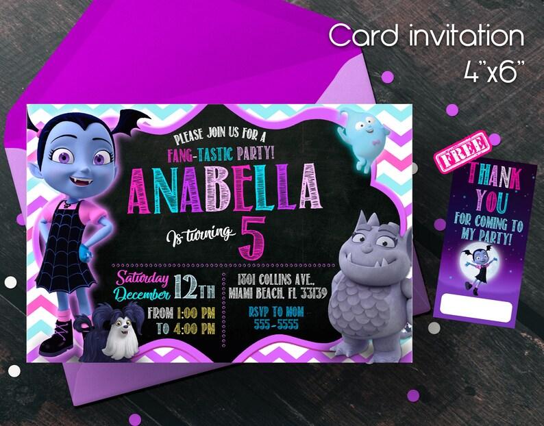 Vampirina Invitation Birthday Party Free Thank You Cards