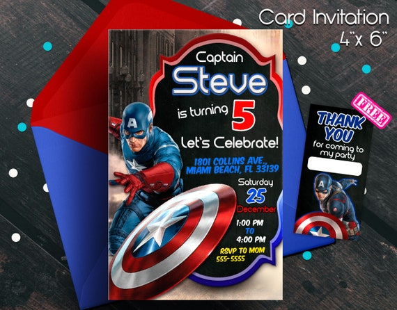 Captain America Invitation Capitan America Captain America Etsy