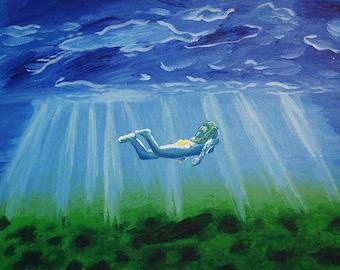 Underwater Acrylic Canvas Painting