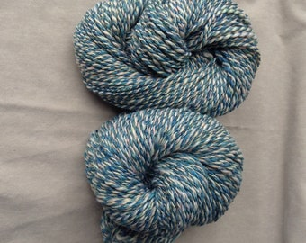 Handspun Yarn – Merino Wool, Tussah Silk, Firestar – 2 skeins available, Aran Weight, Blue-Green, Cream, Sparkle