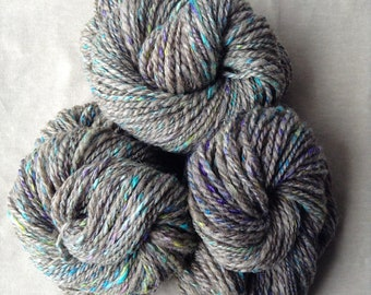 Handspun Yarn - Romney Wool – 3 skeins available, Bulky Weight, Gray with Pastels, Brights, and Sparkle