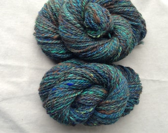 Handspun Yarn - Alpaca, Mixed Wool, Bamboo – 2 skeins available, Worsted Weight, Brown, Black, Jewel Tones, Green, Turquoise, Chartreuse