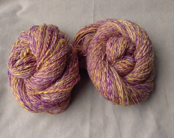 Handspun Yarn – Merino Wool, Faux Cashmere, Angelina – 2 skeins available, Worsted, Electric Violet, Bright Yellow, Pure White, Sparkle