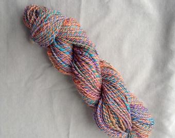 Handspun Yarn – Merino, Baby Alpaca, Bamboo, Silk Noil, Soffsilk®, Sparkle, Tussah Silk – 3.5 oz. – 134 yds, Aran, Multi-colored, Sparkle