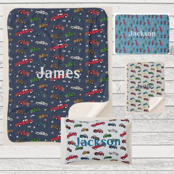 PERSONALIZED  Plush, Fleece, Sherpa Blanket - Toddler & Baby Blanket, Pillow - Newborn Blanket, Kids Throw - Cars, Pickup Trucks, Jeeps