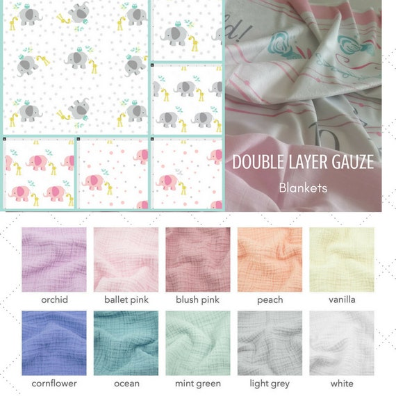 LARGE 2 Layer Double Gauze Organic Sweet Pea Gauze Baby / Toddler Blanket - Elephant Friends Giraffe collection /Summer Solids