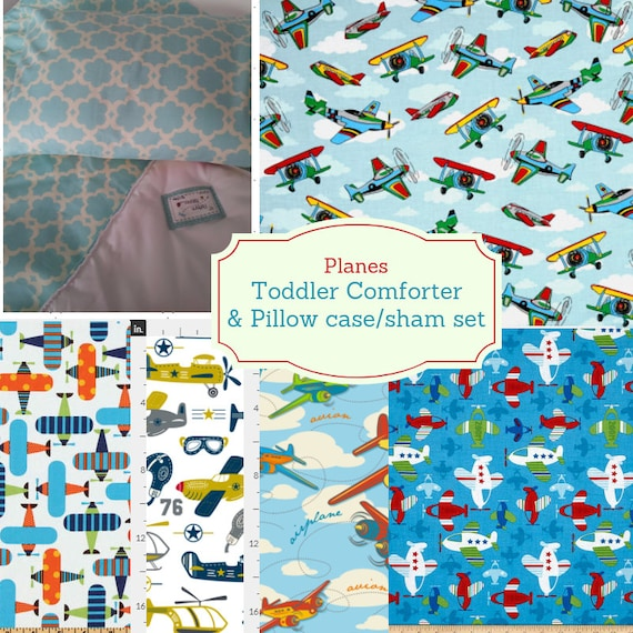 Toddler Comforter Set - Planes, Custom Bedding, Pillow Case / Sham, Kids Comforter, Airplane Throw Blanket