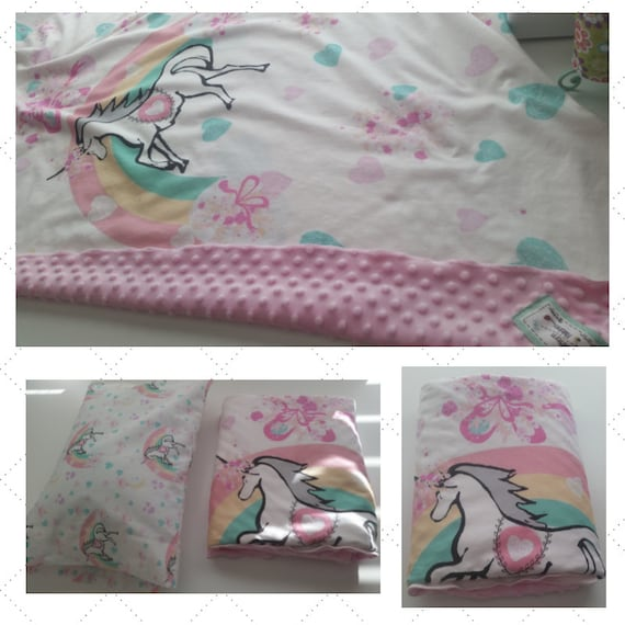 Unicorn Princess Rainbow | READY to SHIP Organic Cotton Knit Baby/ Toddler Blanket with Pink Minky Dot Fleece Back, Pillow Case 12x16