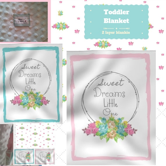 Toddler / Baby Blanket - Sweet Dreams Little One Floral Wreath - organic cotton,minky blanket, 24x32 Newborn, 32x50 Toddler Kids Blanket