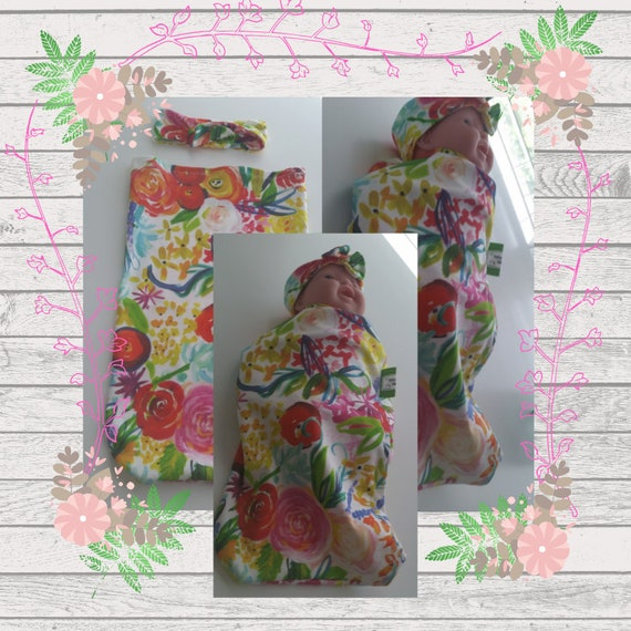 READY to SHIP Organic Cotton Newborn Cocoon Swaddle Sleep Sack,  Baby Girl Headband - Neon Boho Floral