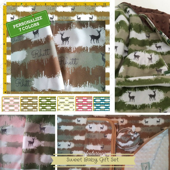 Sweet Baby Gift Set - Custom Camo Deer Personalized Blanket & Beanie - Organic Cotton Baby Name Blanket / Baby Swaddle Gift Set