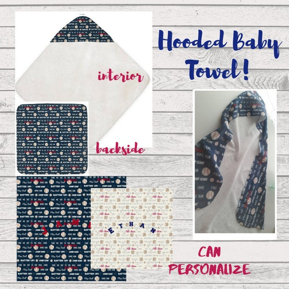 Can PERSONALIZE!  Hooded Baby Towel, Beach Towel, Bath Towel, Toddler Towel -Baseball Baby Boy Towel | Personalized Kids Towel