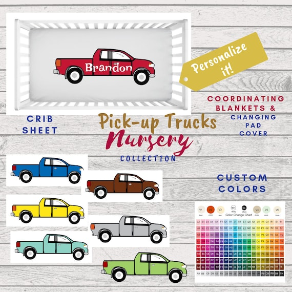 Pickup Truck Crib Sheet - Can PERSONALIZE, Baby Boy Nursery, Personalized Crib Sheet, Toddler fitted sheet, Photo Prop
