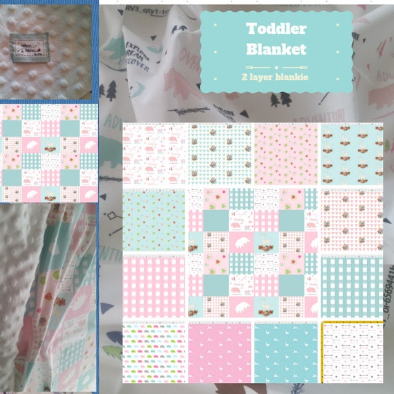 Toddler / Baby Blanket / Sham - Bear Pink Quilt- organic cotton,minky blanket, 24x32 Newborn, 32x50 Toddler Kids Blanket