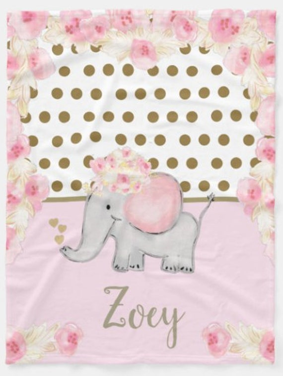 Personalized Blanket / Pillow - Elephant Rose Gold Floral Polka Dot Baby Girl & Toddler size Plush and Minky Sherpa Name Monogram Blanket